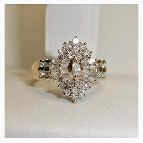 2 Carat Cubic Zirconia 14K Yellow Gold Over Sterling Silver Marquise Cluster Engagement Wedding Ring Size 7