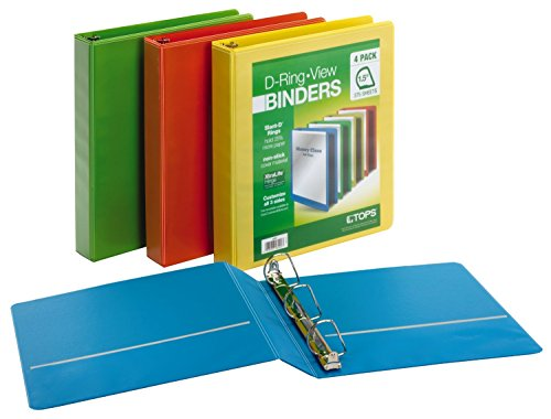 Cardinal 1.5in D-Ring View Binders 4 per Pack Assorted colors