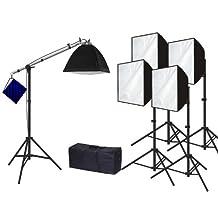 CanadianStudio Pro 2500 watt output 5 head Rapid softbox Lighting Boom Hair Light Kit- Free shipping