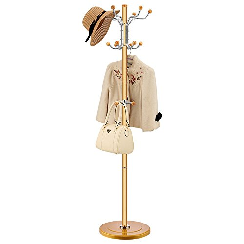 COAT RACK ZHIRONG Coat Stand Clothes Rack Umbrella Holder Hat Stand Revolving Hooks Hallway Furniture Gold 18040cm