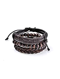 Lureme 3 Pcs Braided PU Leather Bracelet for Men Women Wooden Beaded Bracelets Wrap Adjustable (bl003195)