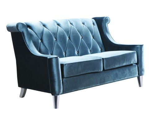 ARMEN LIVING Barrister Loveseat, Blue Velvet with Crystal Buttons