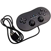 OSTENT Wired Classic Controller Compatible for Nintendo Wii Remote Console Video Game Color Black