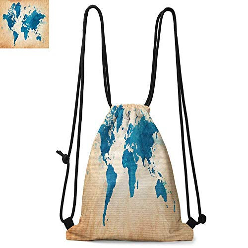 - Map Easy to carry drawstring backpac Artistic Vintage World Map with Watercolor Brushstrokes on Old Backdrop Print Durable Drawstring Backpack W13.8 x L17.7 Inch Navy Blue Sand Brown