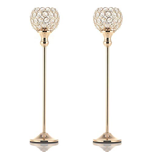 VINCIGANT Pair of 2 Gold Crystal Candle Stand Holders/Dinning Room Table Decorative Candle Lantern Centerpieces for Anniversary Mothers Day Thanksgiving Gifts (Glass Floor Standing Large Vases)