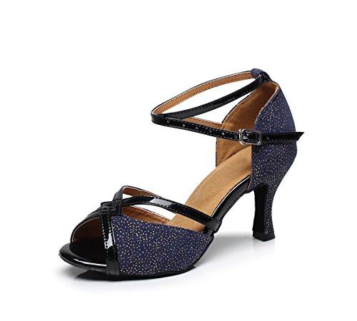 Minishion Qj5001 Womens Uitlopende Hoge Hak Glitter Latin Salsa Tango Dans Sandalen Blauw