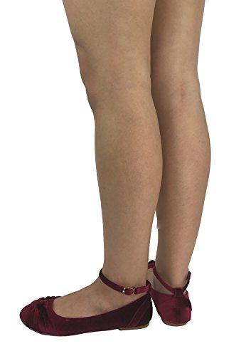 Steven Ella Lush Terciopelo Ballet Pisos Con Detalle De Nudo Torcido Tobillo Correa Resbalón En Los Zapatos Terciopelo Borgoña