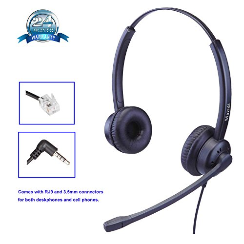 RJ9 Cisco Headset for Telephone With Noise Cancelling Microphone Includes Extra 3.5mm Connector for Mobiles iPhone Samsung LG HTC and Most Android Phone (Iphone Mobile Headset)