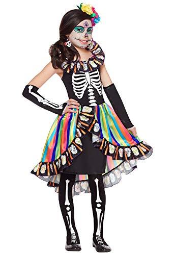 Forever Young pour Toujours Jeunes Filles Enfants Jour de la Mort Costume  Crâne De Sucre Enfants Squelette Halloween Déguisement Effrayant 7-9 Ans   ... 947810d9347