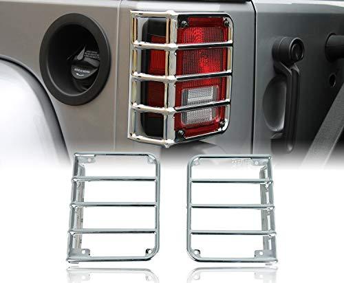 (u-Box Jeep Wrangler Tail Light Cover, Tail Lamp Guard in Chrome Silver for Jeep Wrangler JK 2007-2018)