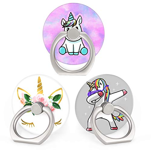 Bonoma Phone Ring Holder, 3 Pack Universal Finger Ring Stand Grip Kickstand Ring Compatible with Tablets and All Smartphones Cute Unicorn