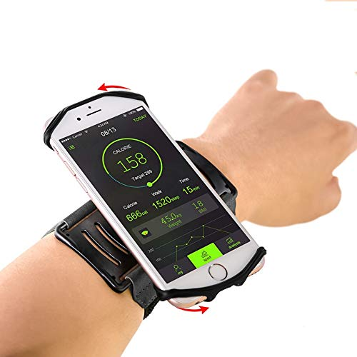 Sports Wristband Cell Phone Holder for iPhone X iPhone 8 8Plus 7 7 Plus 6S 6 5S Samsung Galaxy S8 S7 Edge, Google Pixel, 180°Rotatable Armband for Hiking Cycling Running Workout -Black