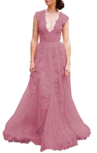 Asa Bridal Women's Vintage Cap Sleeve Lace Wedding Dress A Line Evening Gown dusty 6