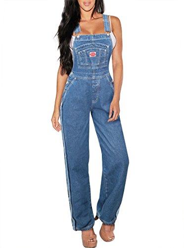 (Revolt Women's Plus Size Denim Jean Blue Overalls PVJ6110. MEDIUM WAS)