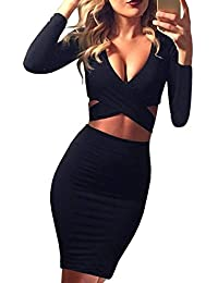 Womens Sexy Long Sleeve Cut-Out Bandage Bodycon Clubwear Midi Dress