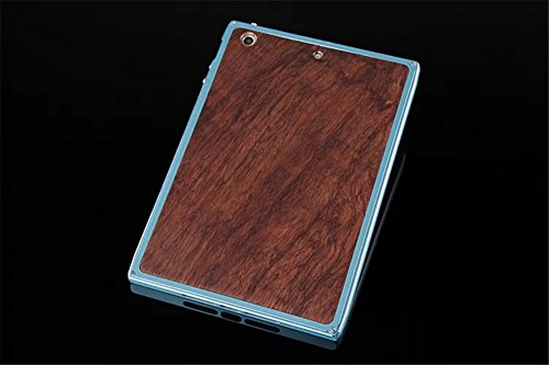 DAYJOY Luxury Unique Design Premium Aerospace Aluminum Alloy Metal Protective Bumper Frame Case With Genuine Real Wood Wooden Bamboo Back Shell Cover for APPLE IPad Mini 1 2 3 (BLUE+WOOD)