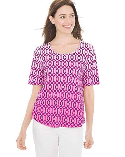 Chico's Women's Ombre Hexagon Elbow-Sleeve Tee Violet