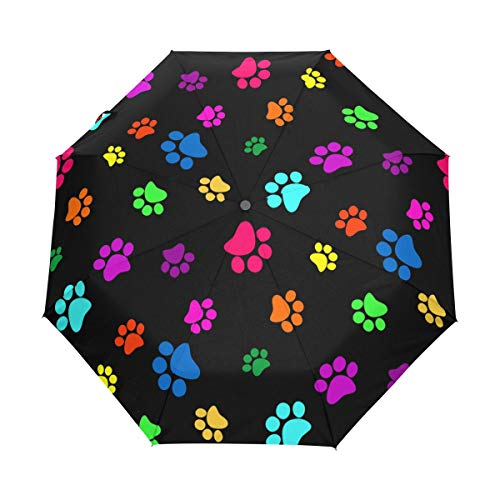 KUWT Colorful Dog Cat Paw Print Compact Travel Umbrella Anti-UV Protective Waterproof Umbrella Automatic Open