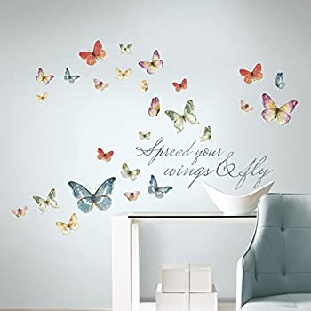 Beau RoomMates RMK3263SCS Lisa Audit Butterfly Quote Peel And Stick Wall Decals