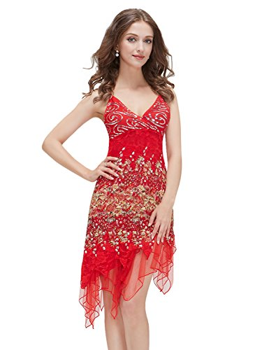 Ever-Pretty Vogue Lace Sequined V-Neck Chic Cocktail Party Club Dress 00045, HE00045RD08, Multiple(Red), - Fashions Out Night Vogue