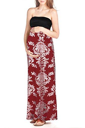 Printed Maxi Tube Dress (Beachcoco Women's Maternity Comfortable Printed Maxi Tube Dress (L, Multi 1))