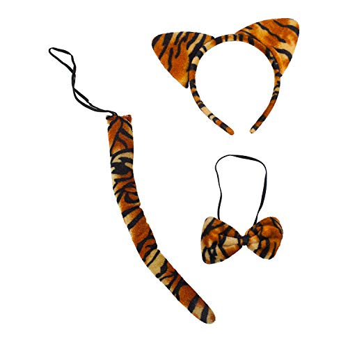 Lux Accessories Tiger Print Cat Ears Tail Bowtie Costume Set Halloween Party Kit