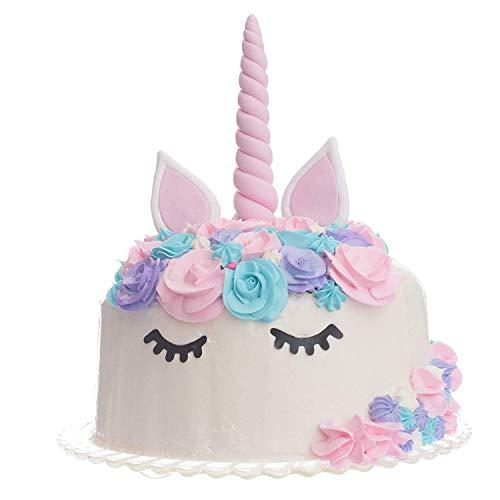 Quokkaloco Unicorn Cake Topper - Handmade Horn, Ears & Eyelashes - Birthday Party, Wedding, Shower - Cake Decorating Set - Reusable 3D (Pink) ()