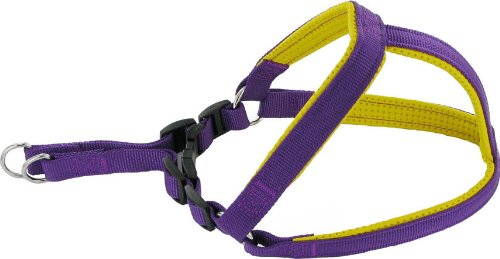 Kakadu Pet Orbit Padded Nylon Step In Dog Harness, 1-Inch by 26-Inch to 32-Inch, Purple with Yellow Trim, My Pet Supplies
