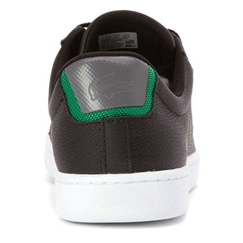 Lacoste Carnaby Evo Lederen Training Sneaker Schoen - Heren Zwart / Groen Leer