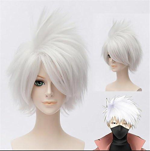 LanTing Cosplay Peluca Naruto Hatake Kakashi Silver White Short ...