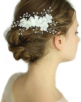 prix plancher mode la plus désirable paquet à la mode et attrayant Kercisbeauty Peigne à cheveux fait main avec fleurs blanches et feuilles  dorées et argentées avec perles de strass pour mariée Accessoires de  cheveux ...