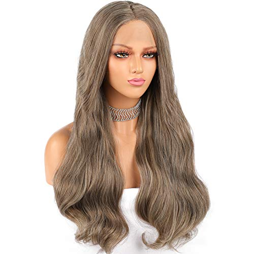 Long Ash Brown Lace Front Wigs Wavy Heat Resistant Hair For Black or White Women Soft Lace Brown Synthetic Wig Middle Part 22 Inches Mixed Blonde Color Glueless Long Wavy Lace Front Wig