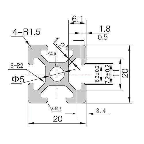300mm 4pc 2020 CNC 3D Printer Parts European Standard Anodized Linear Rail Aluminum Profile Extrusion for DIY 3D Printer