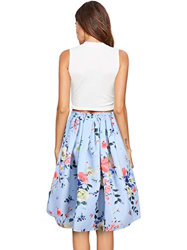 Femme Jupe Beluring Imprim A Pliss Haute Jupe Vintage Taille lgante Jupes Longue Floral Mode Ligne Mi dHxxSwq1