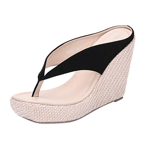 (SMALLE_Shoes Wedge Flip Flops for Women,SMALLE◕‿◕ Women Beach Sandals Platform Wedges Sandals High Heels Wedges Slippers Black)