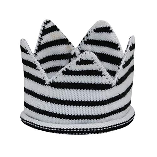 (Kirbaez Newborn Kids Caps Baby Striped Crown Knitted Birthday Hat Photography Accessories Empty Top Hat Black)