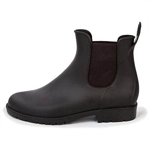 Smiry Ladies' Ankle Rain Shoes Women's Mens Anti-Slip Elastic Waterproof Black Slip On Short Rain Shoes Boots
