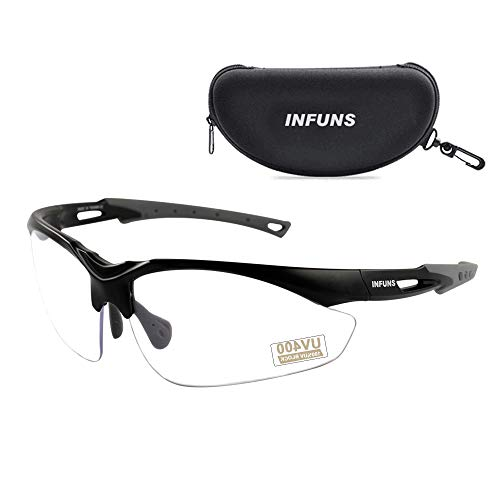 PROTEAR Anti Fog Safety Glasses with Case - Protective Scratch Resistant Lens Eye-wear - UV 400 Shooting Range Protection -