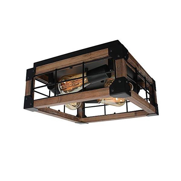 Beuhouz Square Farmhouse Flush Mount Lighting Black Metal And Wood Rustic Ceiling Light Fixture Industrial Close To Rustic Living Decor