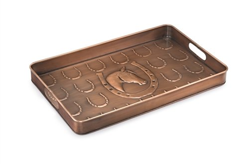 Good Directions Horse Multi-Purpose Serving Tray, Boot Tray / Shoe Tray - Copper Finish (22 inch) with Handles - Food, Drinks, Plants, Pet Bowl, Garage, Entryway, Entrance, Foyer ()