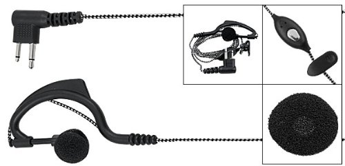 Fabric Covered Cable Two Way Radio Earphone w Mic for Motorola