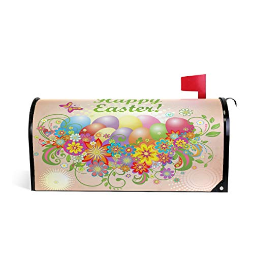 (WOOR Easter Colorful Flowers and Eggs Magnetic Mailbox Cover Oversized-25.5