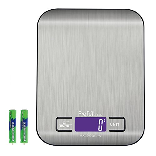 Prefer Green Digital Kitchen Scale Multifunction Food Scale, 11 lb/5 kg,Stainless Steel,Silver (Batteries Included)