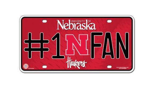 NCAA Nebraska Cornhuskers #1 Fan Metal Auto Tag (Nebraska Fan)