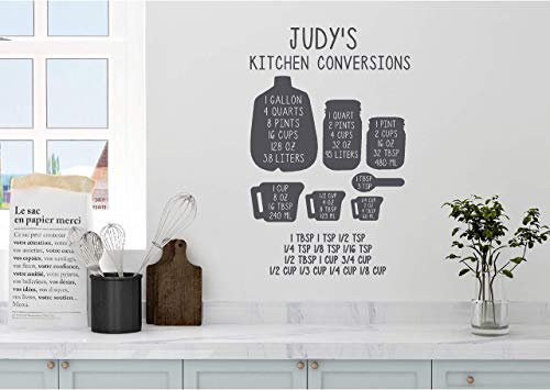 (Personalized Custom Name Kitchen Conversion Measuring Cup Chart Wall Decal Sticker Customized Choose Size Color Vinyl Home Baking Cooking)