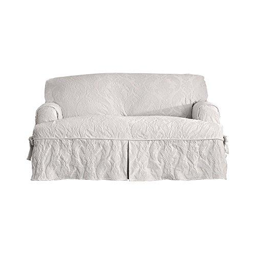 - Sure Fit Matelasse Damask 1 Piece T-Cushion Kick Pleat Sofa Slipcover