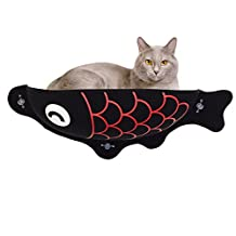Cat Window Perch, 2017 New Cute Fish Cat Window Bed With Pet Mat, Cat Toy, Suction Design For Removable Use and Different Seasons (Black Fish)