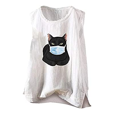 Xinantime Womens Casual O-Neck Cartoon Cat Printed Vest Tank Sleeveless Linen T-Shirt Blouses Tops at  Women's Clothing store