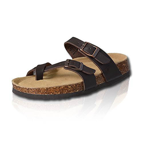 VLLY Girl's Adjustable Buckles Straps with Comfort Footbed Cork Sandals US 8 Brown