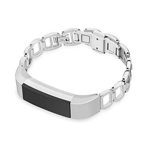 CUZOW Stainless Steel Metal Adjustable Flexible Link Bracelet Replacement Watch Band for Fitbit Alta/Alta hr (Metal-Silver)